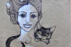 ragazza_gatto_lumaca e tre uova di oca_2013_penna e tempera bianca su carta da pacchi