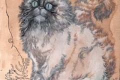 Gatto Blù . 2009 - inchiostro e olio su carta e caffe'