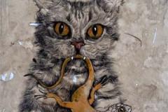 Gatto e ciortella . 2015 . Penna e acquerello su carta invecchiata