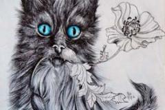 Gatto e papavero . 2016 . Penna e acquerello su carta stropicciata