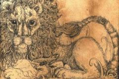 Lione, ciortella e Uova ° 2009 ° Inchistro su carta anticata