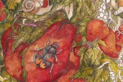 coleotteri e lumaGhe su pomidori . 2011 . olio e penna su carta preparata